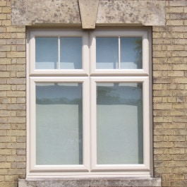 A to opening casement window in cream