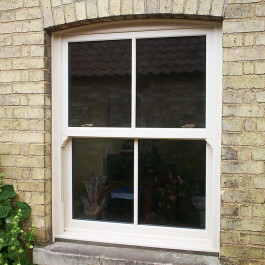 A front on shot of a sliding sash window