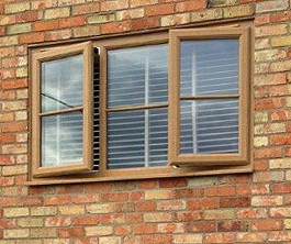 brown woodgrain windows