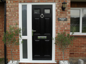 Black Composite Door with side panel