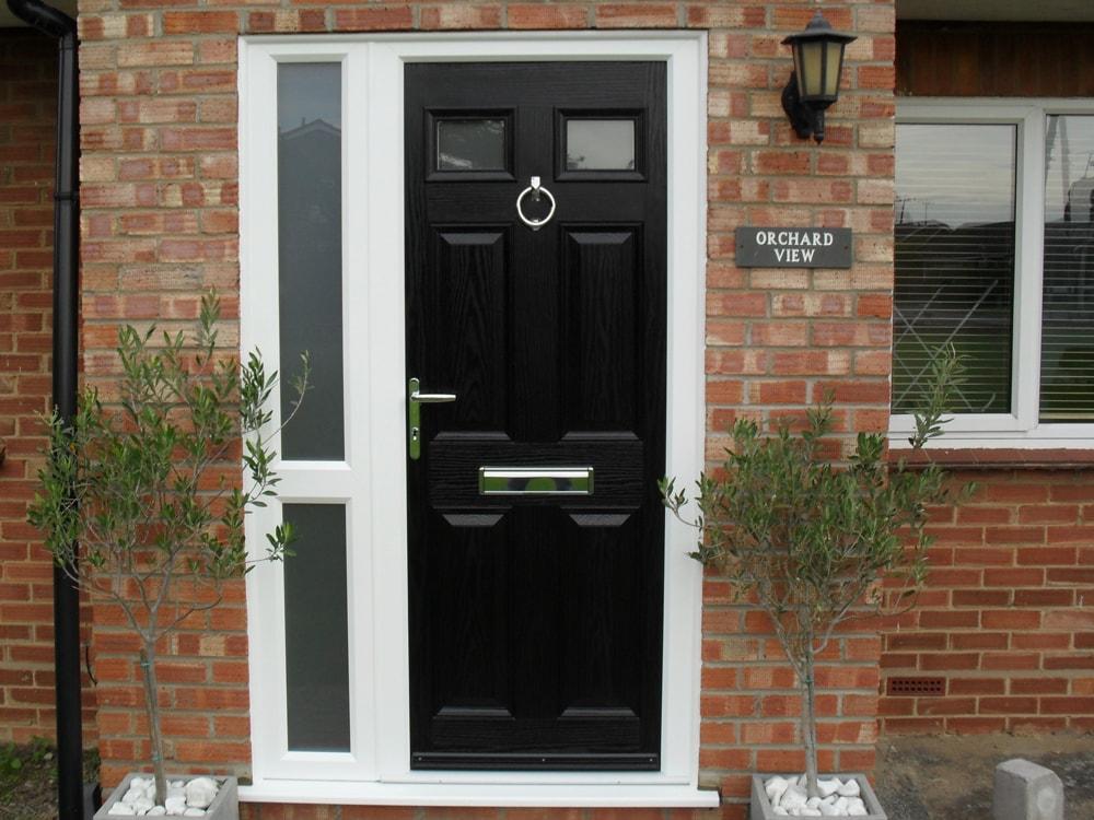 Black Composite Door with side panel