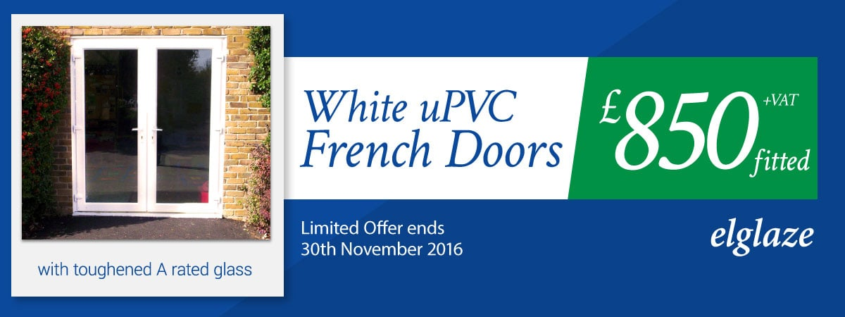 White uPVC French Doors fitted for £850 + VAT