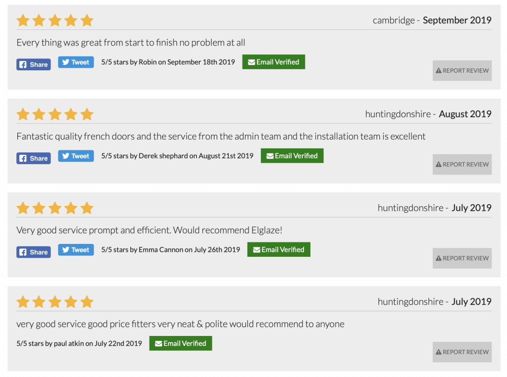 A sample of Elglaze's customer reviews on allchecked