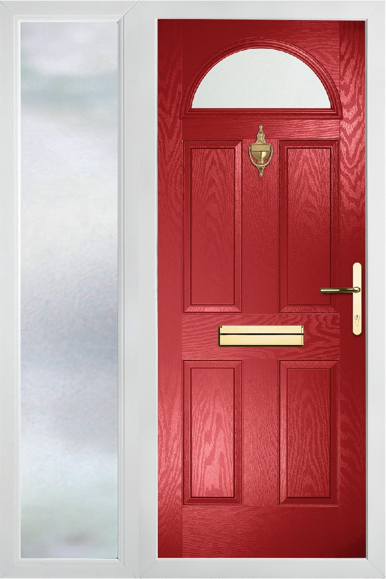 Moonshine Composite door with glazed side panel in Red
