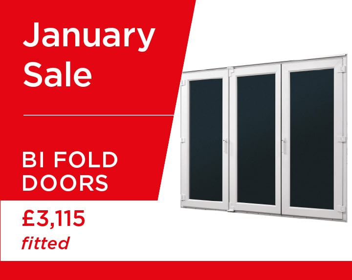 3 panel uPVC bi fold door in white, supplied and fitted for just £3115 this January.