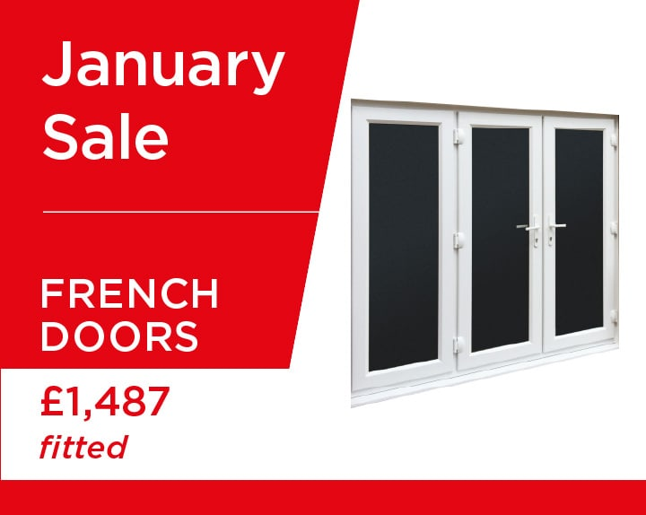 uPVC french doors with side panel in white, supplied and fitted for just £1487 this January.