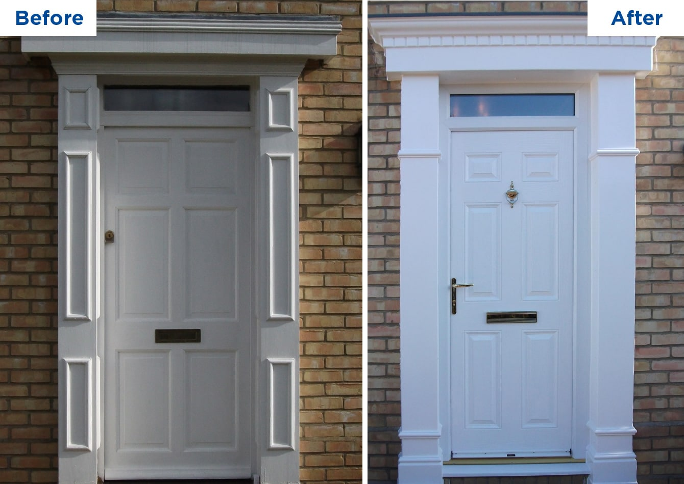 A before and after example of door surrounds