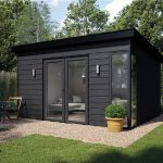 Elglaze Garden Studio in black cladding with french doors and corner window
