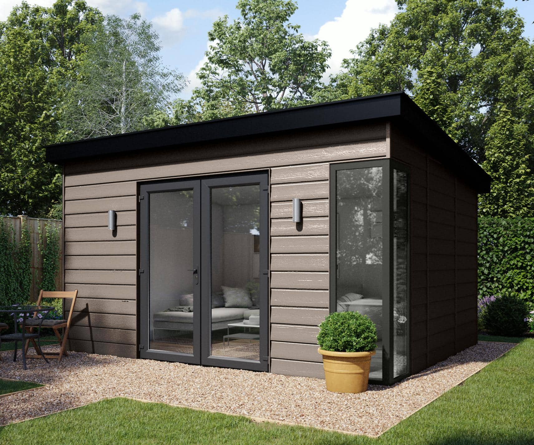 Elglaze Garden Studio brown cladding, french doors and corner window