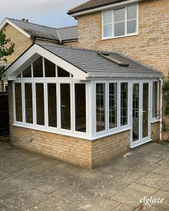 Equinox roof with a gable end, installed by Elglaze