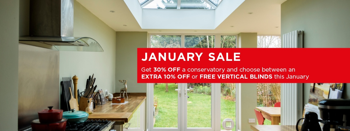 Elglaze January Sale - 30% off conservatories and either an extra 10% off or free vertical blinds